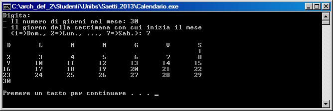 Calendario Con Numero Giorni.Esercitazione 1